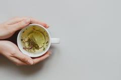 Fond de thé Mains tenant la tasse de thé vert chaud sur le fond gris, vue supérieure Copiez l'espace Images stock