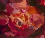 Fond de toile de fleur de peinture - fleur de plan rapproché de peinture à l'huile Macro rose de plan rapproché de pivoine de gra photo libre de droits