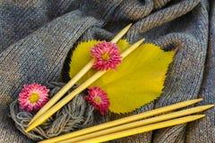 Fond de toile grise tricotée de la laine du ` s de chèvre faite avec le knitti Photos libres de droits