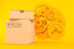 Fond de travail d'équipe avec la pile de boîtes illustration de vecteur