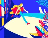 Fond de vacances avec la fille et la mer illustration de vecteur