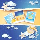 Fond de vacances avec les éléments et les photos de papier Photo stock