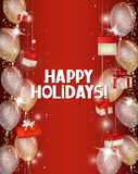 Fond de vacances avec les confettis brillants, le boîte-cadeau rouge et les ballons à air Images stock