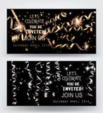 Fond de vacances Cartes d'or et d'argent d'invitation avec miroiter confettis serpentins et en forme d'étoile Photographie stock libre de droits