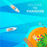 Fond de vacances d'été Bienvenue au paradis Image libre de droits