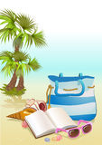 Fond de vacances d'été de bord de la mer illustration libre de droits