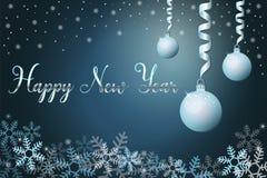 Fond de vacances d'hiver avec des boules de neige et de Noël, main marquant avec des lettres la bonne année d'expression Vecteur  photographie stock