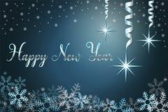 Fond de vacances d'hiver avec la neige et étoiles, main marquant avec des lettres la bonne année d'expression Illustration de vec image stock