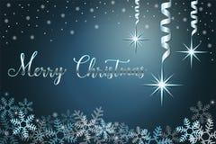 Fond de vacances d'hiver avec la neige et étoiles, main marquant avec des lettres le Joyeux Noël d'expression Illustration de vec photo libre de droits