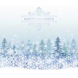 Fond de vacances d'hiver avec le paysage bleu de neige Photos libres de droits