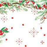 Fond de vacances d'hiver d'aquarelle arbre de Noël d'illustration d'aquarelle, branche de gui, baie de gui, flocon de neige illustration libre de droits