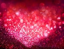 Fond de vacances de jour de valentines - Bokeh rouge Photos stock