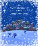 Fond de vacances de Joyeux Noël et de bonne année avec l'inscr illustration de vecteur