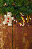 Fond de vacances de Noël Bonhomme en pain d'épice Image stock