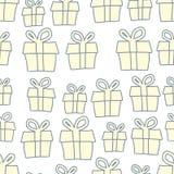 Fond de vacances des cadeaux Modèle sans couture actuel de vecteur Photographie stock libre de droits