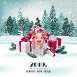 Fond de vacances de Noël avec les présents et le porc mignon Vecteur illustration libre de droits