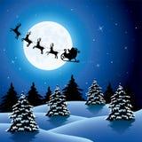 Fond de vacances de Noël avec piloter le père noël et le rei illustration stock
