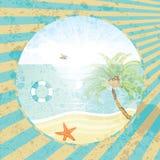 Fond de vacances tropicales d'été rétro illustration de vecteur