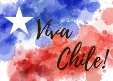 Fond de vacances de Viva Chile dans des couleurs de drapeau illustration de vecteur