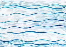 Fond de vague de mer de bleu d'océan de peinture d'aquarelle sur le papier blanc de toile Photos stock
