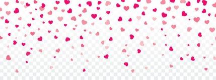 Fond de Valentine avec des coeurs tombant sur transparent illustration libre de droits