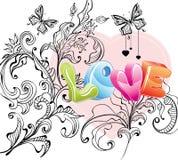 Fond de Valentine avec l'ornement floral et amour illustration de vecteur