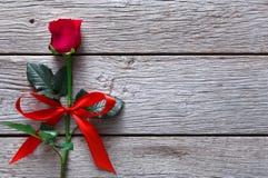 Fond de Valentine avec la fleur de rose de rouge sur le bois rustique Photo libre de droits