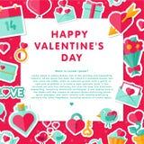 Fond de Valentine avec les éléments plats Photo stock
