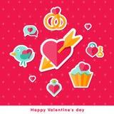 Fond de Valentine avec les éléments plats Images libres de droits