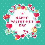 Fond de Valentine avec les éléments plats Image libre de droits