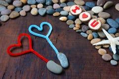 Fond de Valentine, le 14 février, je t'aime Photos stock