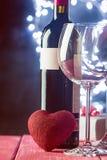Fond de Valentine de vin et de bougie Image stock