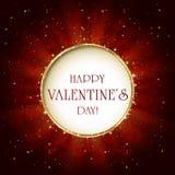 Fond de valentines avec la bannière ronde Images stock