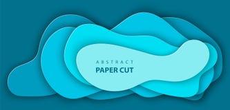 Fond de vecteur avec des formes bleues de coupe de papier de couleur r illustration libre de droits