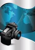 Fond de vecteur avec l'appareil-photo de DSLR illustration de vecteur