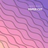 Fond de vecteur avec la coupe de papier de rose et de couleur de gradient de lila illustration stock