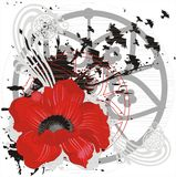 Fond de vecteur avec la fleur et les oiseaux rouges Image stock