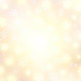 Fond de vecteur avec la neige en baisse d'or Image libre de droits