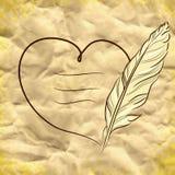Fond de vecteur avec le coeur et la plume Photographie stock libre de droits