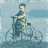 Fond de vecteur avec le garçon sur la rétro bicyclette Photo libre de droits