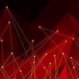 Fond de vecteur avec le résumé polygonal rouge Images libres de droits