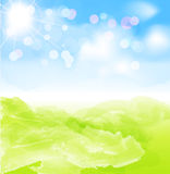 Fond de vecteur avec le soleil, ciel bleu Photographie stock libre de droits