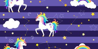 Fond de vecteur avec les licornes, l'arc-en-ciel, les constellations et d'autres éléments illustration libre de droits