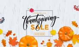 Fond de vecteur de boutique de promo de remise de chute de feuille de potiron d'affiche de vente d'automne de thanksgiving illustration stock