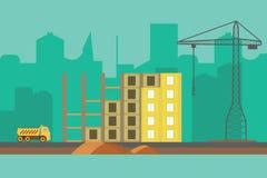 Fond de vecteur de construction Bannière de Web de construction dans le style plat illustration de vecteur