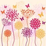 Fond de vecteur d'été avec des fleurs et des papillons Photographie stock