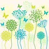 Fond de vecteur d'été avec des fleurs et des papillons Photos stock