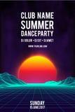 Fond de vecteur d'affiche de soirée dansante de nuit rétro insecte d'événement de musique du style 80s rétro fond 80s Photographie stock libre de droits