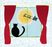 Fond de vecteur de carte de Noël avec le chat Image libre de droits