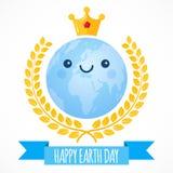 Fond de vecteur de jour de terre Le globe de bande dessinée avec la couronne d'or et le laurier tressent Planète mignonne Illustr Image stock